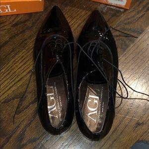 AGL Black Patent Leather Oxfords